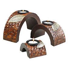 Dekoset Afrika Blätter 3er Set Kerzenhalter Exotic Bogen für Teelichter 34039-07