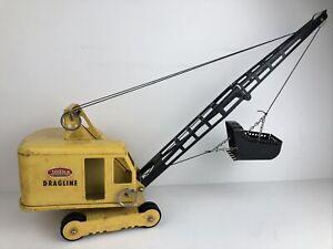 Vintage 1950's 60's Tonka Dragline Crane Pressed Steel Construction Toy