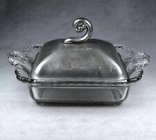 Wrought Farberware Square Glass Dish Silver Hammerred Aluminum Lid Bklyn N.Y.