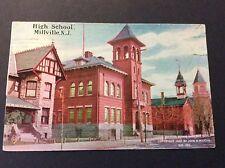 High School, Millville, New Jersey Postcard Postmarked 1907