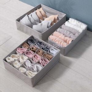 Foldable Organizer Storage Box Underwear Socks Drawer Divider Houseware 3pcs/set