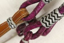 PURPLE Braid Rawhide Romal Reins With Leather Popper & Rawhide Accents!