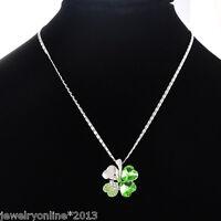 Neu 1 Halskette Silberkette Glücksbringer Grün Kleeblatt Anhänger Strass 41.4cm