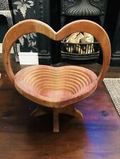 Vintage Hand Carved Wooden Collapsible Heart Basket Bowl Holder