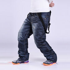 Winter Men Snowboard Trousers Denim Jeans Long Ski Pants Outdoor Travel Sports