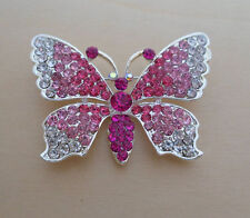 Pink and Clear Crystal Butterfly Brooch, Pin