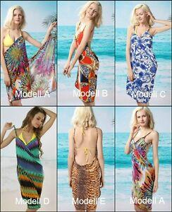 Strandkleid Wickelkleid Rückenfrei Pareo mit Trägern Urlaubskleid NEW@ buy.2