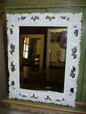 specchio barocco intagliato laccato bianco lucido/opaco