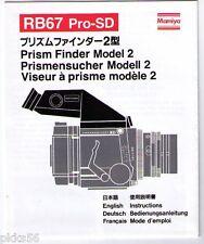 Mamiya Rb/Rz Prism Finder Model 2 Instruction (Original Print Japan/not copies)