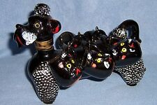 unusual Vintage BLACK POODLE Decanter Bottle 5 puppy cups ceramic 1950's dog Wow