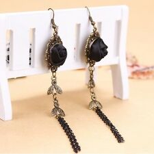 Gothic Women Ear Studs Handmade Black Rose Vintage Lace Earrings