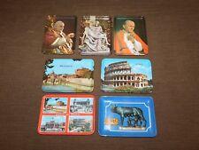 "Vintage 7 Pope Roma Souvenir Italy Italian 6"" X 4 1/4"" Plastic Trays"