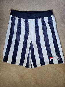 Fila Soft Navy & White Stripes Sweat Shorts - Size M