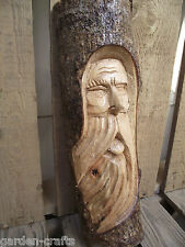 Medium Old Man Log Carving - Hand Carved  - Mythical - Nature gift - 30cm tall