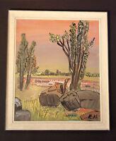 naiver Expressionnisme: Art Naif Paysage avec arbres et felsen. monogrammé