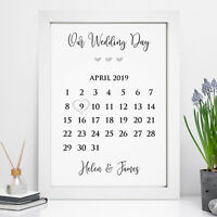 Personalised Wedding Calendar Date Print Mr & Mrs Bride Groom Couple Gift Frame