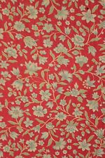Vintage French bed cover daybed bedspread c 1930 red floral cotton printed