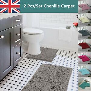 Luxury 2 Piece Loop Bath Mat Anti Slip Pedestal Set Chenille Bathroom Toilet Rug