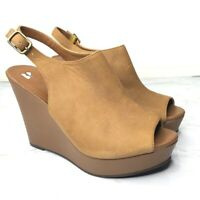 BP Size 8.5 Brown Leather Peep Toe Wedge Sling Back Buckle Shoes