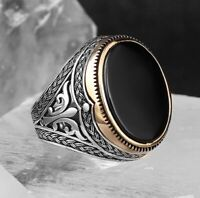 Turkish 925 Sterling Silver  black onyx stone mens man Elegant ring ALL SİZE us