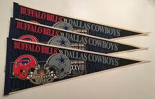 VINTAGE DALLAS COWBOYS BUFFALO BILLS SUPER BOWL XXVIII 1/30/94 PENNANT LOT (3)