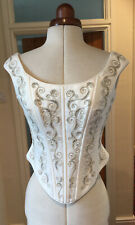 VINTAGE IVORY SATIN SILVER EMBROIDERED BRIDAL BODICE BY ESSENSE - SIZE 10