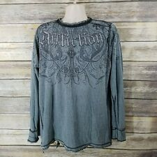 Affliction 2XL Reversible Distressed Thermal Long Sleeve Shirt Black Gray READ