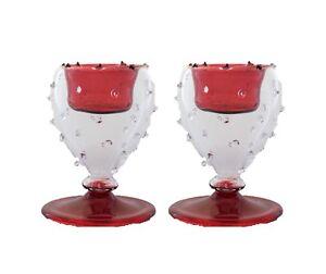 set of 2 red beauty modern art statue tealight candle holder