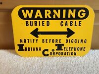WOW! Vintage Old Indiana Telephone Corp. Metal Sign Yellow Black NICE! WARNING