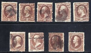US STAMP BOB #O72 // O82  1873 TREASURY OFFICIAL USED STAMPS LOT(2c tear)