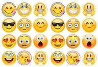 24 Emoji Smiley Faces Cupcake Cake Toppers Edible Rice Wafer Paper Decorations