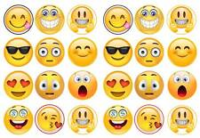 24 emoji SMILEY Caras Magdalena Cake Toppers Comestible Oblea De Papel De Arroz Decoraciones