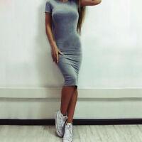 Womens Short Sleeve Bodycon Midi Dress Party Evening Pencil Dresses Slim Tops