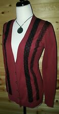 DKNY Beautiful Wine Berry Cardigan Lace Detail Vneck Cotton Sweater Sz S