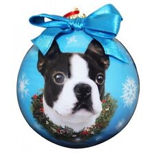 Boston Terrier Christmas Ornament Wreath Blue Shatter Proof Ball Dog Snowflakes