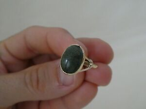 Art Deco Egyptian Revival 9CT Gold Carved Stone Scarab Ring Size M