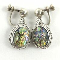 Signed EME Vintage Mexico Sterling Silver Dangle Screwback Earrings Multi Color