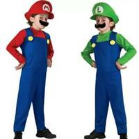 Boys Girls Super Mario Luigi Brother Cute Halloween Party Cosplay Costume Otufit