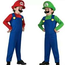 Supermario and Luigi Fancy Dresses Plumber Bros Boy Girl Costume Cosplay Outfits