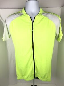 Canari Mens Size MD Yellow High Visibility Full Zip Athletic Wear Cycling Jersey