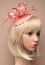 NEW Rose pink satin based hatinator with feathers aliceband wedding races prom