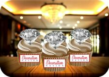 CRYSTAL DIAMONDS - 12 STAND UP Edible Cake Topper PARTY BLING GIRLY GEMS