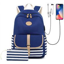 Womens Girls School College Backpack Laptop Shoulder Bags w/ USB Charging Port