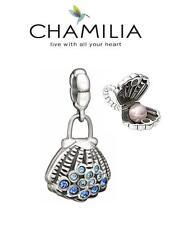 Genuine CHAMILIA 925 silver & Swarovski BLUE CLAM SHELL charm bead, beach ocean