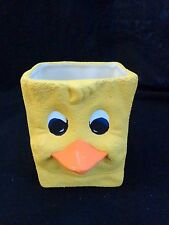 """YELLOW DUCK FACE PLANTER 3.5"""" Box Bag Shape Hand Painted Textured Ceramic"""