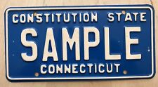 "CONNECTICUT SAMPLE LICENSE PLATE EMBOSSED "" SAMPLE ""  CT CONSTITUTION STATE"