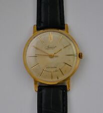 Very Rare VTG VIMPEL ВЬIМПЕЛ 23 Jewels Gold Plated Au 20 Men's Wristwatch