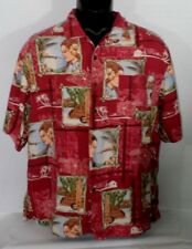 Bermuda Bay Men's Hawaiian Shirt Sz L 100% Silk Woody Island Princess Red Tiki