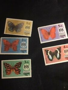 BHUTAN,1975 , SET OF 5 BUTTERFLIES PERF, MNH