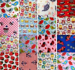 Novelty Kids Nursery Retro Fun 100% Pure Cotton Quilting Craft Dress Fabric FQ